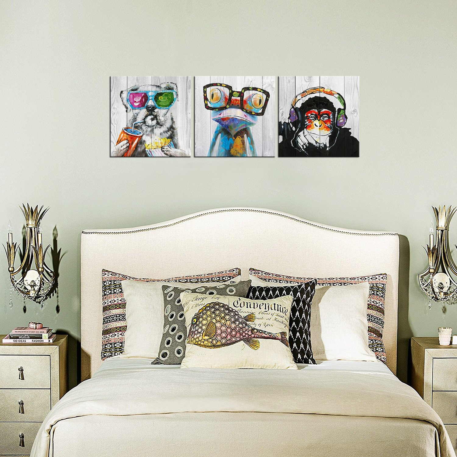"""Abstract Animal Painting Canvas Prints Cool Dog Eat Breakfast & Gorilla Monkey Listen Music & Frog Wear Glasses on Vintage Wood Wall Art 16""""x16""""x3 by Kolo Wall Art (Image #4)"""