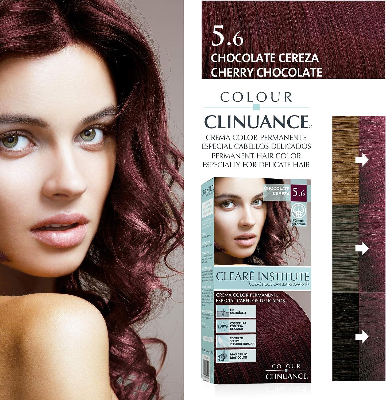 Colour Clinuance. Tinte Capilar Cabellos Delicados. 5.6 Chocolate Cereza, Coloración Permanente Sin Amoniaco, Más Brillo, Color Intenso, 100% ...