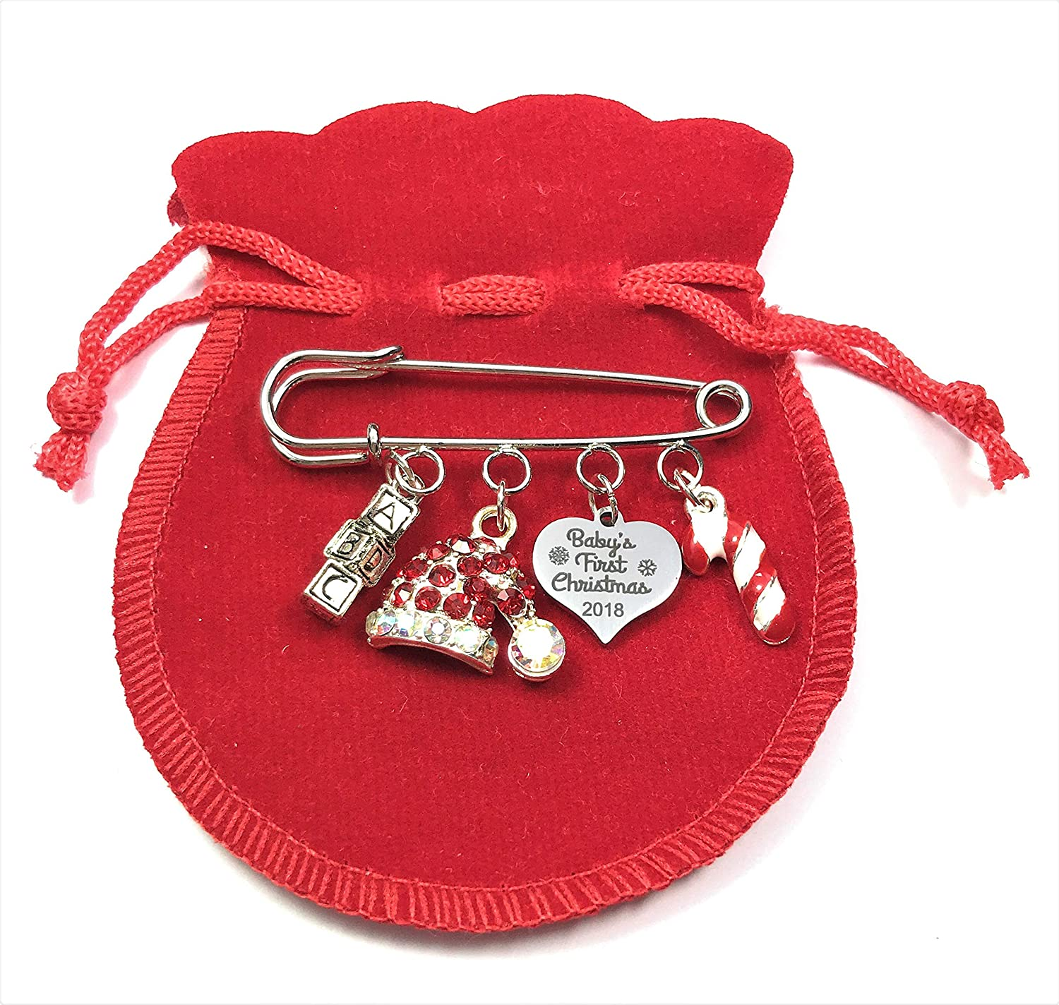 Baby's First Christmas 2018 Nappy Safety Pin Keepsake Charms with Christmas Hat Charm, Candy Cane Charm and Letter Blocks Charm Comes with Red Velvet Gift Bag and Gift Card by Libby's Market Place Libby' s Market Place