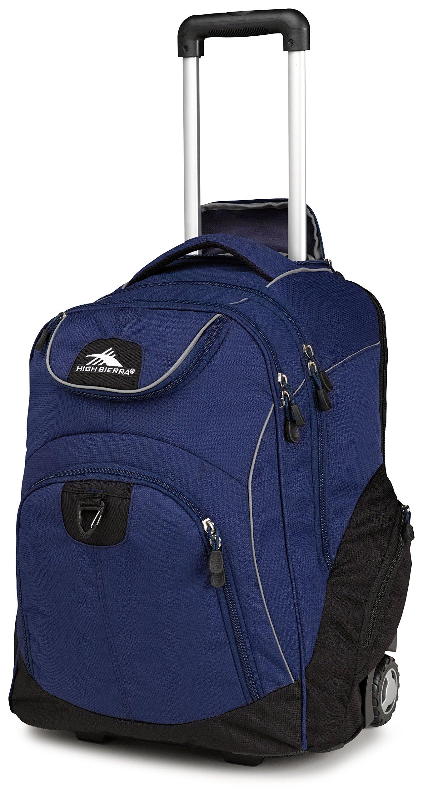 High Sierra Powerglide Wheeled Laptop Backpack, True Navy/Black