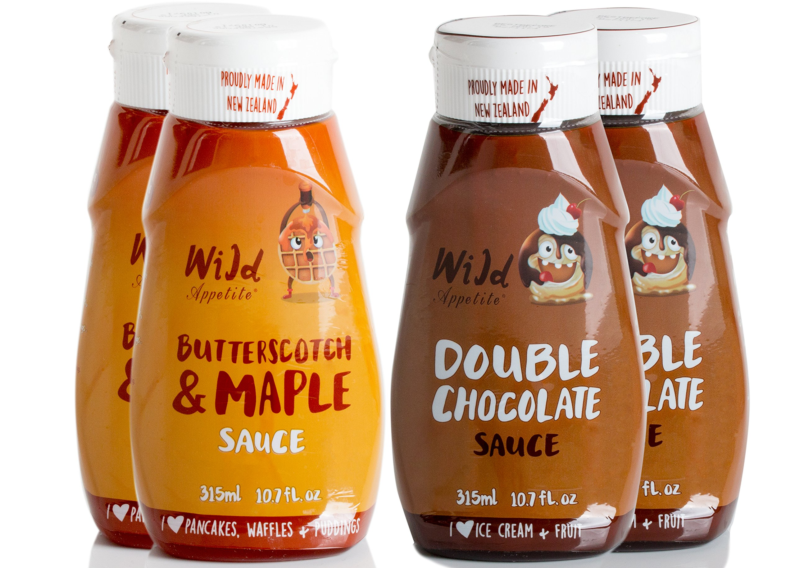 Wild Appetite Dessert 4 Pack, 2 x Double Chocolate Sauce and 2 x Butterscotch & Maple Sauce, 4 x 315ml (10.6oz) by Wild Appetite