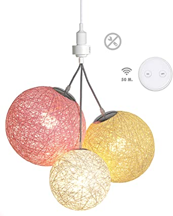 -Pale 3 boules en chanvre naturel 3x9W T/él/écommande sans fil 3 ampoules LED E27 incluses Luminaire Suspension E27-100/% pr/êt /à l/'emploi sans outils A visser directement sur une douille E27