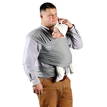 Amazon Com Baby Sling Carrier Grey Cotton Nursing Moby Wrap For
