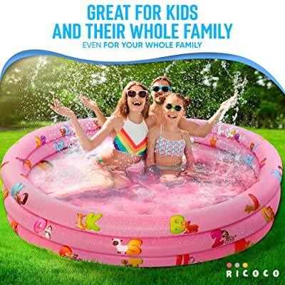 Buy Inflatable Kiddie Pool For Kids Kids Pools For Backyard Swimming Pool For Kids And Toddlers 3 Ring Pools For Inside And Outside Durable Material With Soft Bubble