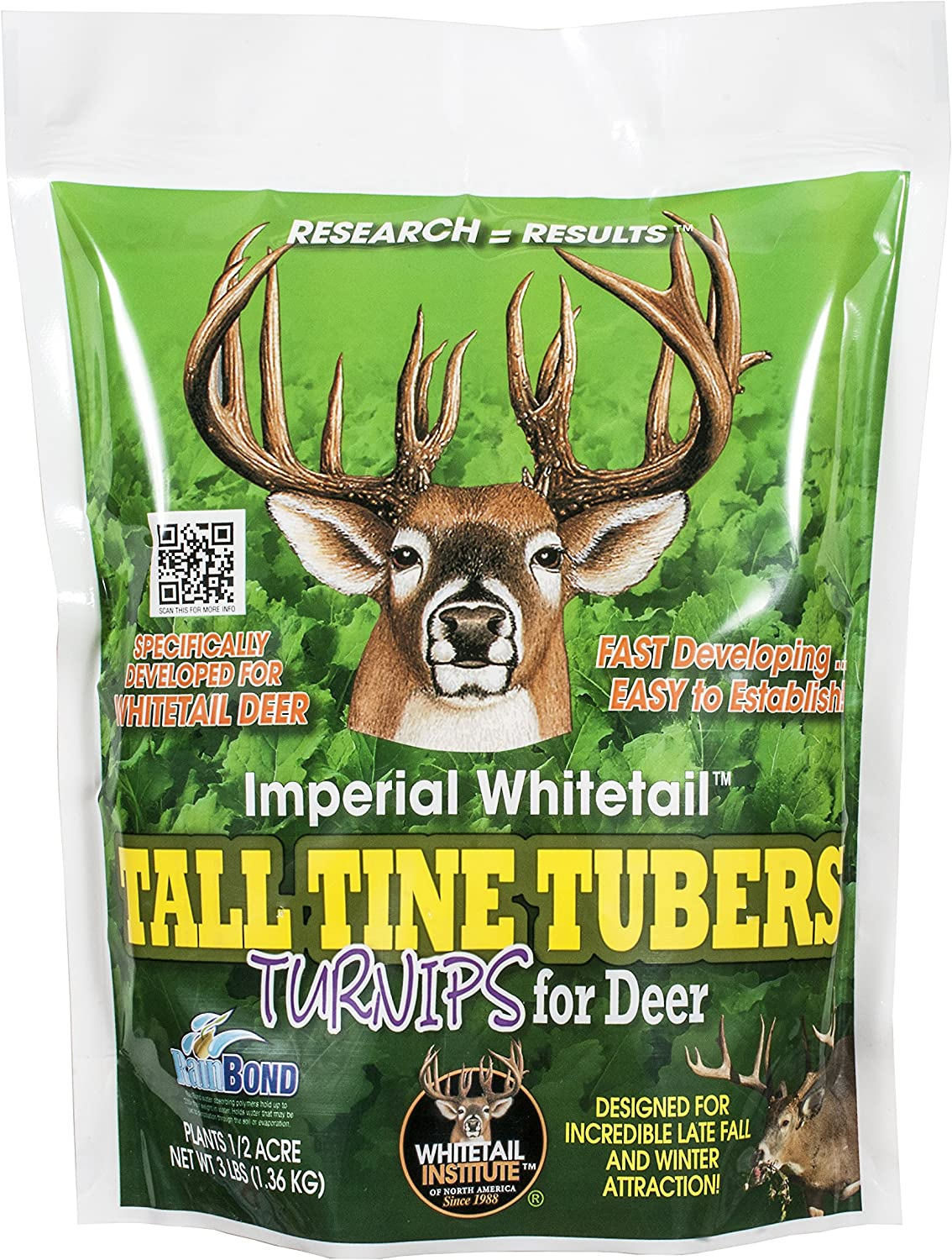 Whitetail Institute Imperial Tall Tine Tubers Food Plot Seed (Fall Planting), 12-Pound (2 Acres), Green