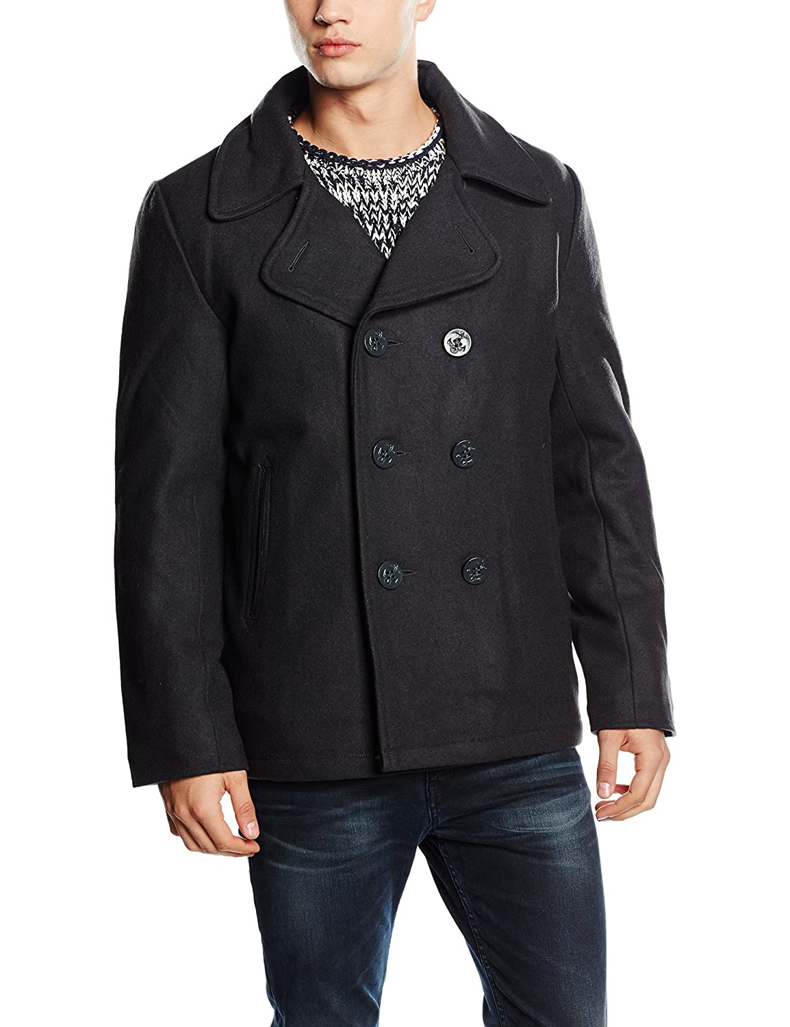 Navy Pea Coat Marine Wintermantel Jacke