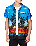 V.H.O. Funky Hawaiian Shirt | Men | XS-12XL | Short-Sleeve | Front-Pocket | Hawaiian-Print | Beach Palms Summer | Different Colors