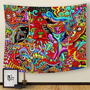 """pinata Trippy Tapestry Psychedelic Arabesque Tapestry - Bohemian Colorful Monster Eyes Tapestry Wall Hanging Hippie for Bedroom Home Dorm Decor (59.1"""" x 59.1"""")"""
