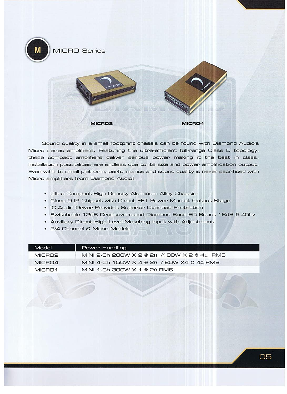 Diamond Audio Micro1 300 Watt Mini Mono Amplifier Bass Boost Section Output Driver With Ic Electronics