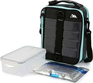Arctic Zone Ultimate Upright Expandable Lunch 2pc Leak Proof Food Container (37.2 fl.oz) and 350g High Performance Ice Pack-Grey, 228oz