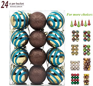 Awesome 24ct Christmas Balls Ornaments, Shatterproof Bulbs Painting Hangings  Festive Decoration Party Tree Pendants Ornaments For