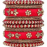 Aheli Handmade Royal Design Silk Thread Bangle Set Matching Chuda Indian Traditional Wedding Jewelry for Women