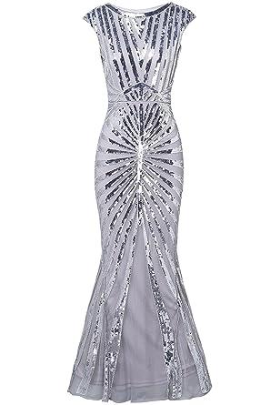 pretty nice e1b59 3246b ArtiDeco 1920s Kleid Damen Maxi Lang Vintage Abendkleid Gatsby Motto Party  20er Jahre Flapper Kleid Damen Kostüm Kleid