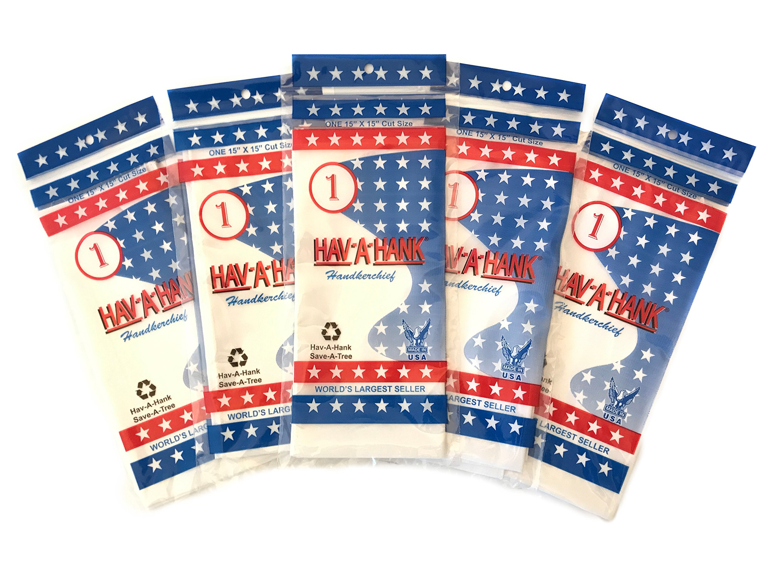 HAV-A-HANK Genuine MADE IN USA Handkerchief 15 inch [5 Pack]