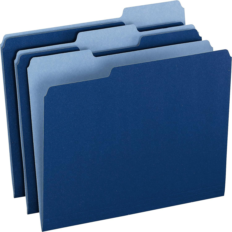 Pendaflex Two-Tone Color File Folders, Letter Size, 1/3 Cut, Navy, 100 Per box (152 1/3 NAV)