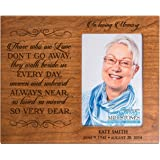 Personalized Memorial Sympathy Picture Frame, In Loving Memory Those Who We Love Don't Go Away They Walk Beside Us, Custom Frame Holds 4x6 Photo, Made In USA by DaySpring Milestones (Cherry)