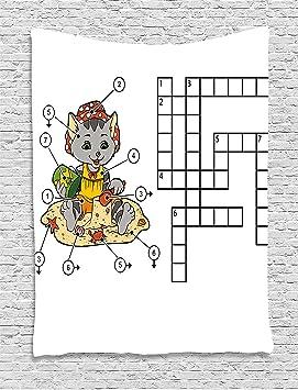 Búsqueda de palabras Puzzle tapiz por Ambesonne, crucigrama Juego para Niños, diseño de gato
