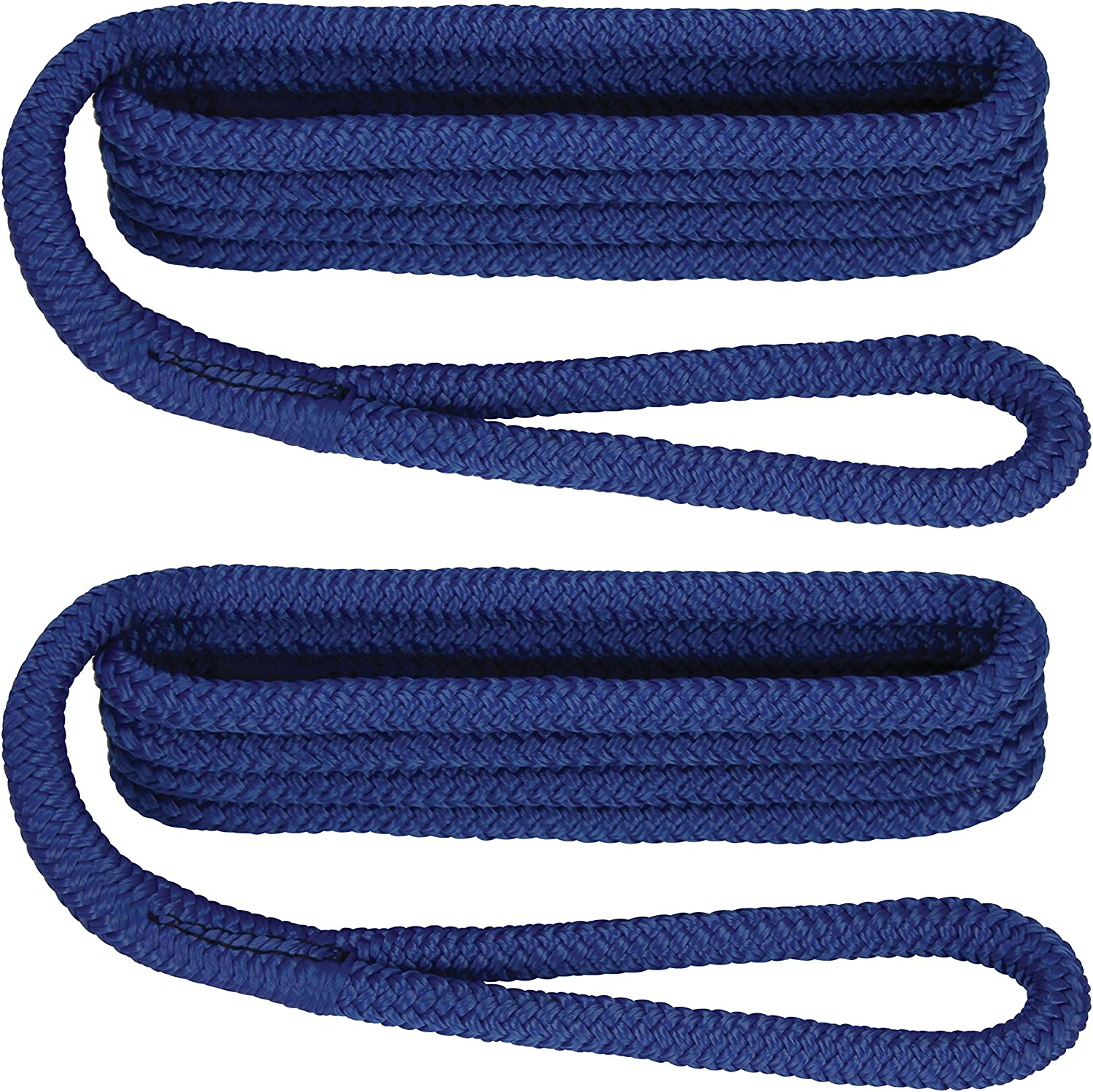 6 Pack of 1//4 Inch x 6 Ft Navy Blue Double Braid Nylon Fender Lines for Boats
