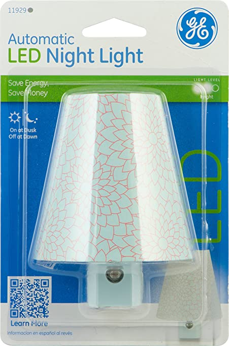 Ge 11929 Night Light Led Light Sensing Round Shade Blue Chrysanthemum