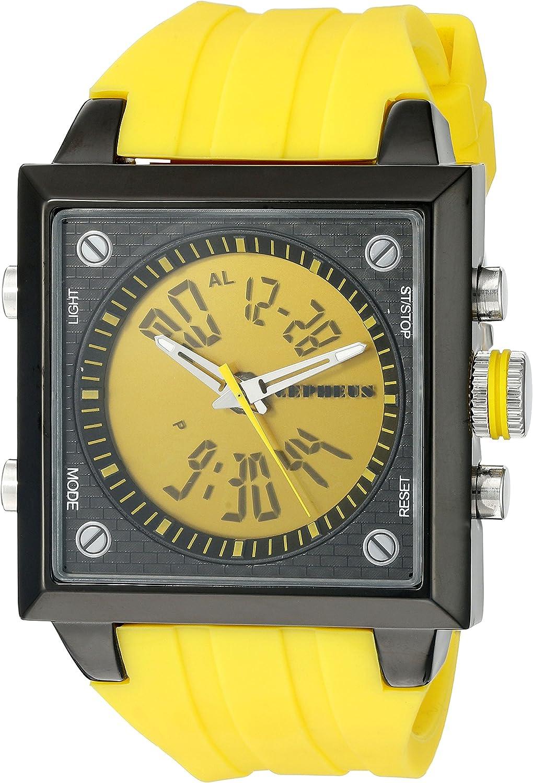 CEPHEUS CP900-690B - Reloj analógico y Digital de Cuarzo para Hombre con Correa de Silicona, Color Amarillo