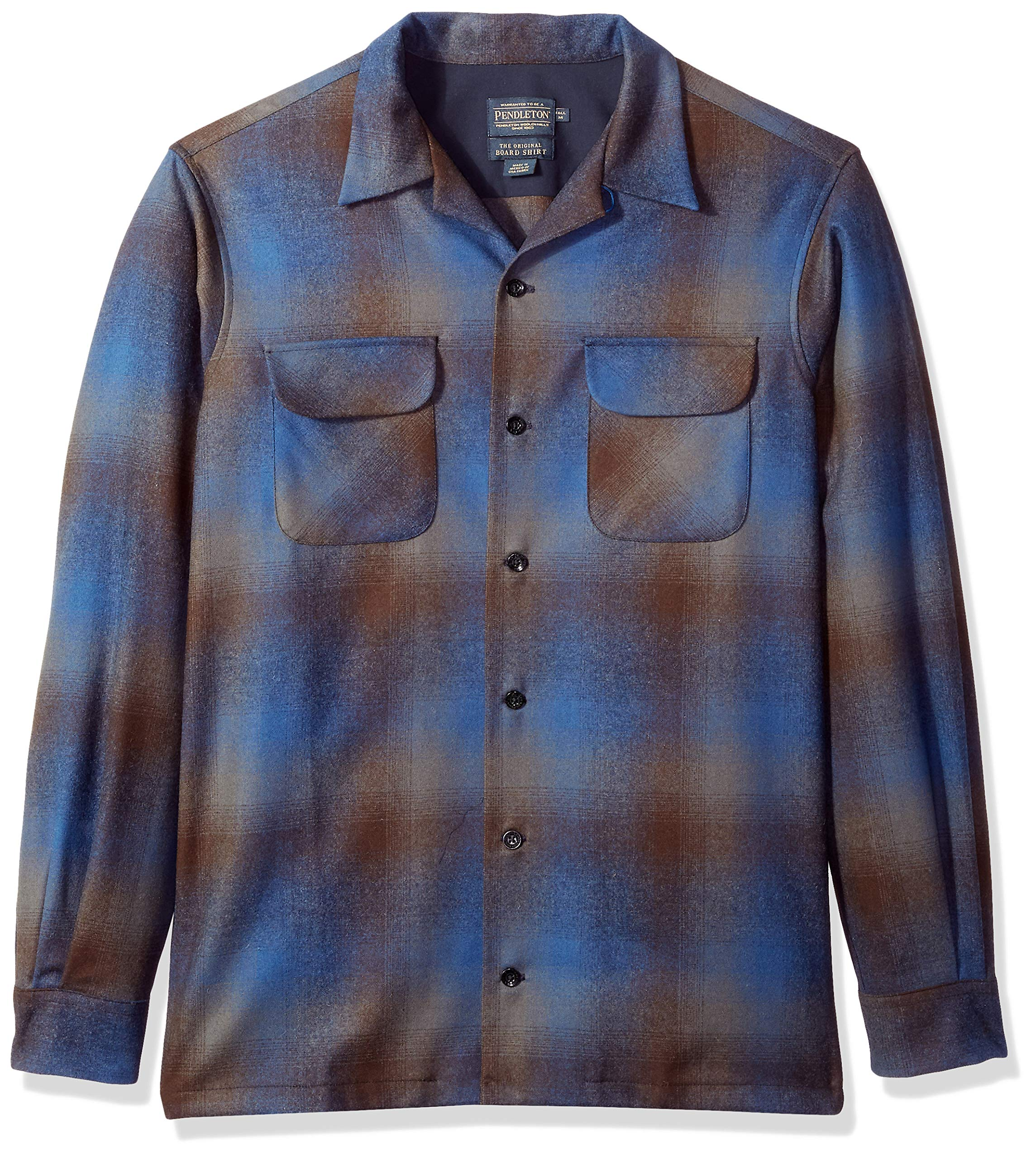 Pendleton Men's Size Big & Tall Long Sleeve Board Shirt, Brown/Blue Ombre, LG-TALL