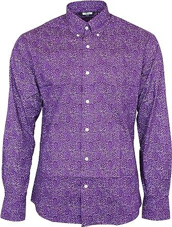 Relco Hombre Cachemira Morado Manga Larga con Botones 100% Camisa de Algodón