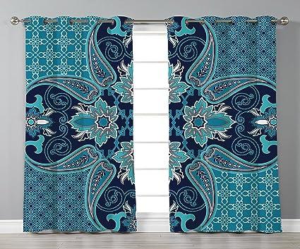 Amazoncom Satin Grommet Window Curtainsnavy Blue Decor