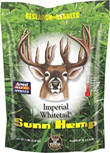 Whitetail Institute Sunn Hemp Deer Food Plot Seed, Fast-Growing and Establishes Rapidly, Great for Erosion Control, Soil Improvement and as a Cover Crop, 7 lbs (.25 Acre)