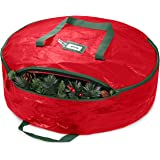 """ZOBER Christmas Wreath Storage Container 30"""" - Water Resistant Fabric Storage Dual Zippered Bag for Holiday Artificial Christ"""