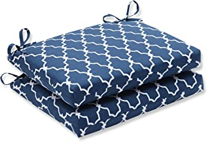 """Pillow Perfect Outdoor/Indoor Garden Gate Square Corner Seat Cushions, 18.5"""" x 16"""", Navy, 2 Count"""