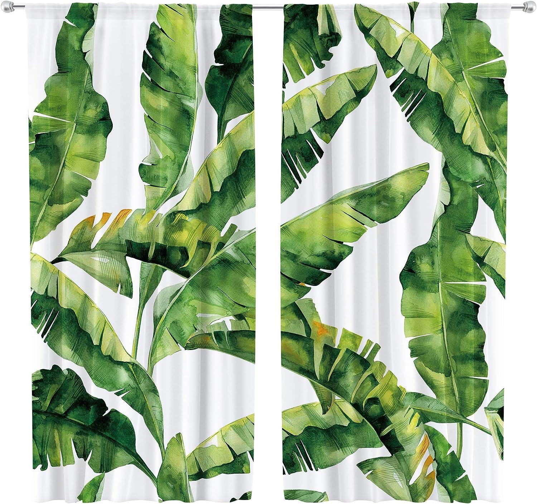 Our shop most popular Max 85% OFF Riyidecor Tropical Palm Curtain Tree Leaf Pocket Rod Botanical P