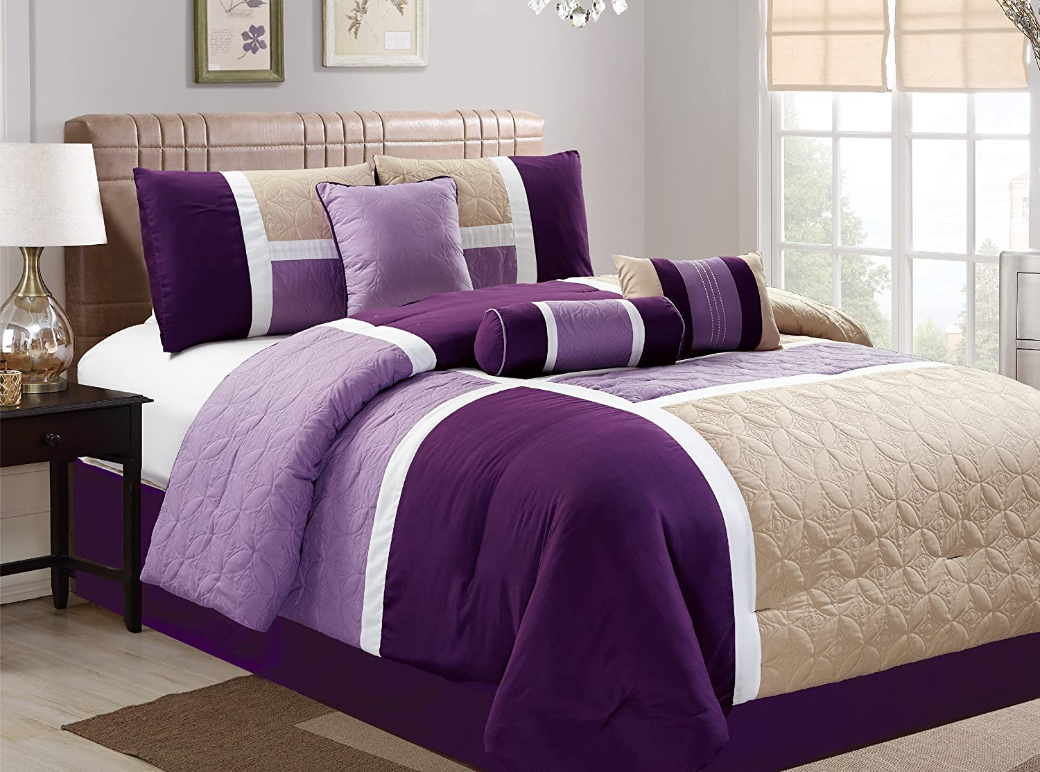 Dovedote 20617 K 7 Piece Luxury Microfiber Quilted Patchwork Comforter Set, Purple, King,