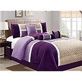 Luxlen 7 Piece Luxury Bed in Bag Comforter Set, Purple / Beige, Cal King