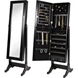 Best Choice Products Mirrored Jewelry Cabinet Armoire, Black