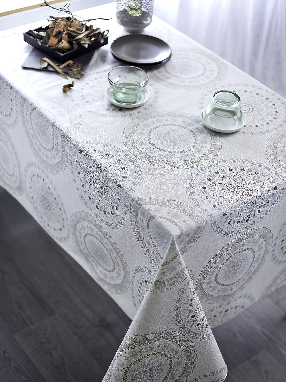 CALITEX Round Oilcloth Tablecloth, PVC, Meringue, 140x 140cm BRUELLE