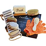 Badeset Wellness-Set Geschenkset fürs Bad, Badebürste mit langem Stiel, Haarbürste Bimsstein Peelinghandschuhe Schwamm Massagegurt Nagelbürste (30cm x 20cm x 6cm)