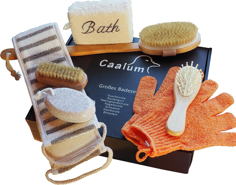 Badeset Wellness-Set Geschenkset fürs Bad, Badebürste mit langem Stiel, Haarbürste Bimsstein Peelinghandschuhe Schwamm Massagegurt Nagelbürste (30cm x 20cm x 6cm) Caalum