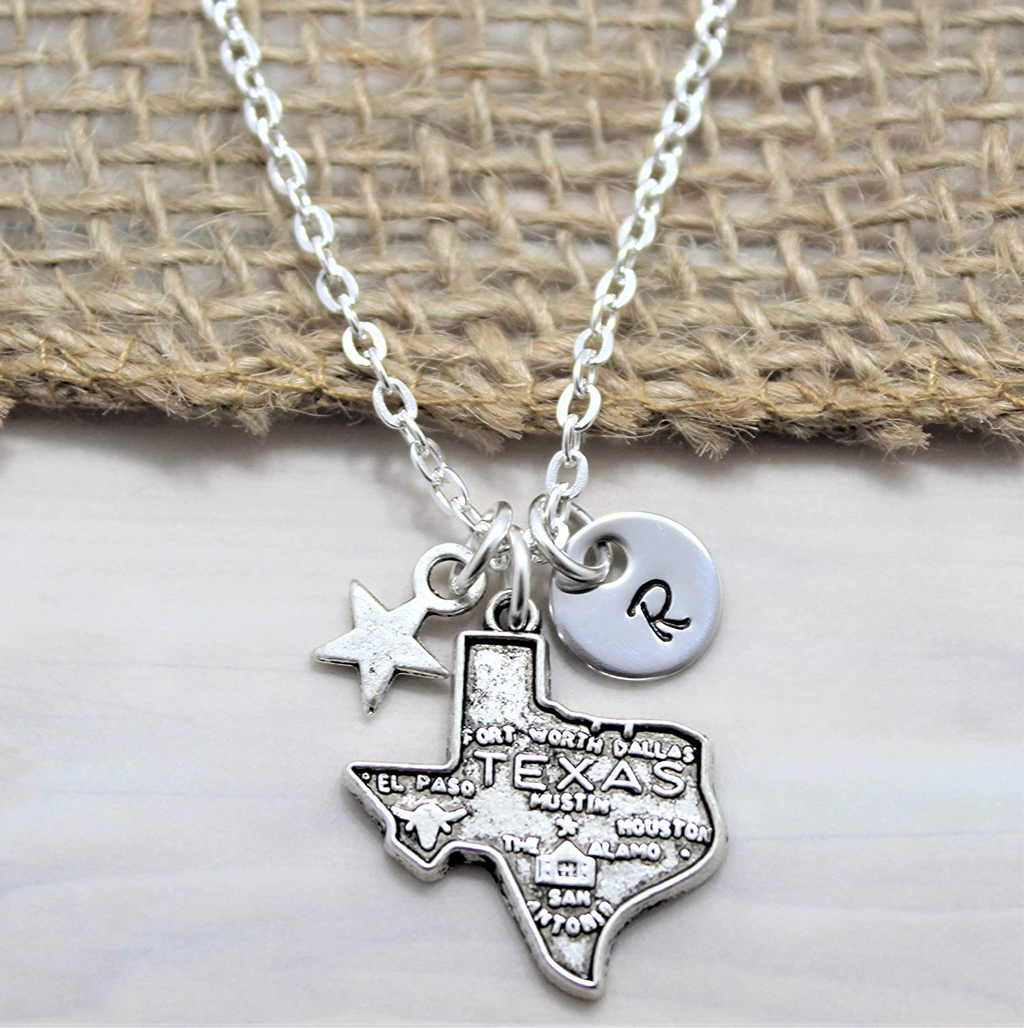 Amazon Com Texas State Necklace Texas Jewelry Texas Star Gift Ideas Personalized Initial Handmade