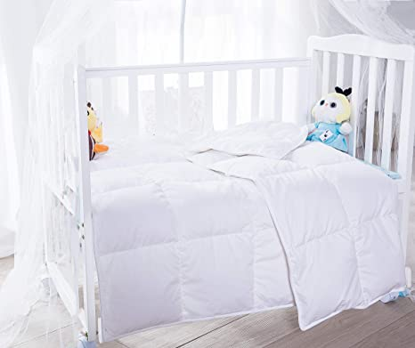 Amazon Com Kumiq Crib Summer Lightweight 100 Natural White Goose Down Baby Toddler Comforter Duvet Blanket 100 Down Proof Cotton Shell Machine Washable White 41x48in Kitchen Dining