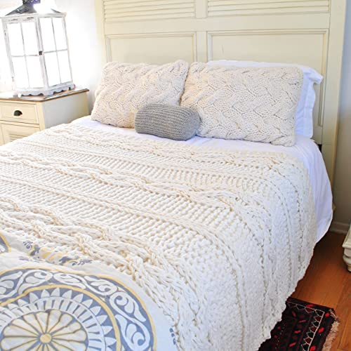 Cable Knit Blanket Queen.Amazon Com Queen Size Chunky Cable Blanket Ready To Ship