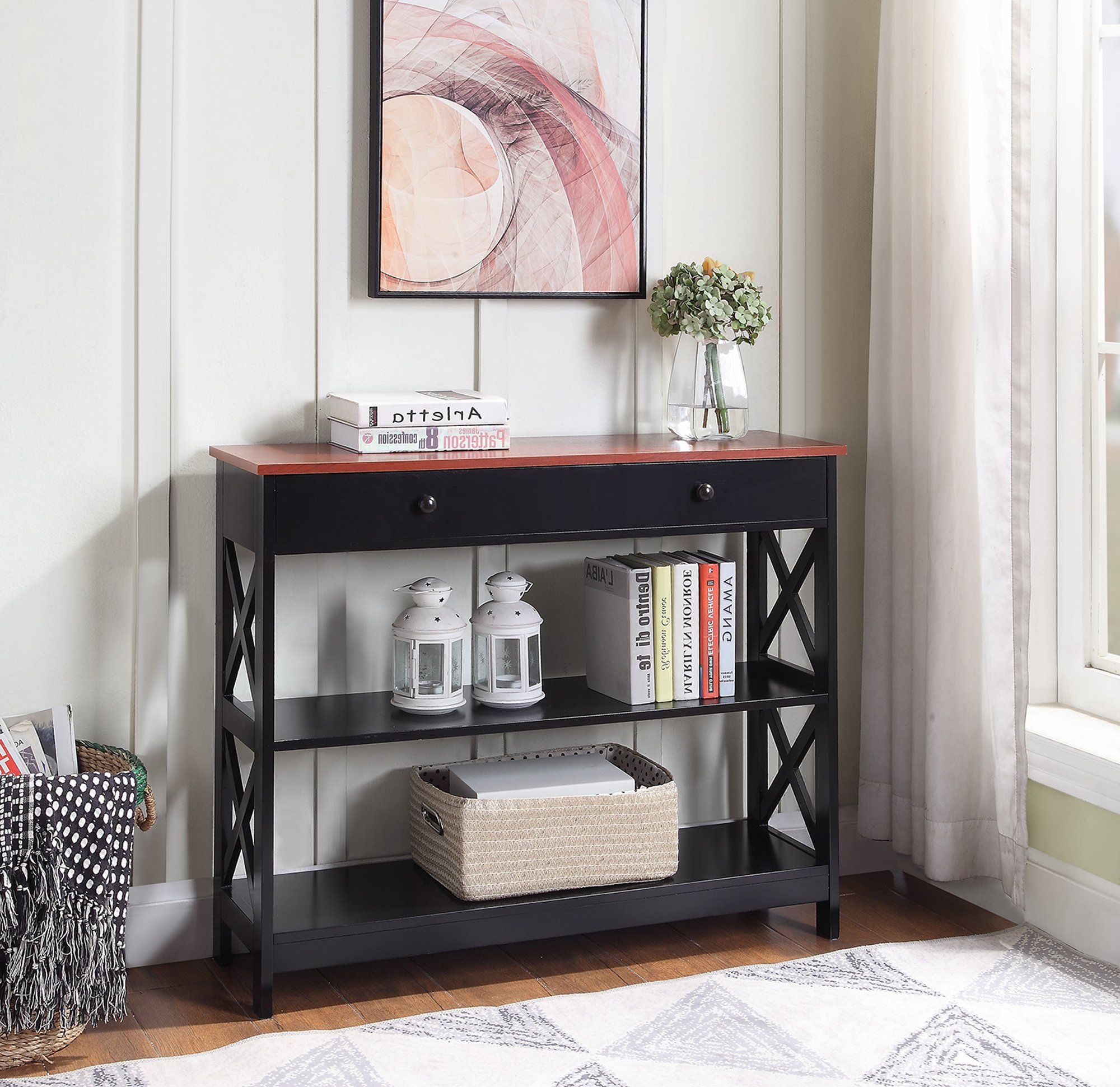 Convenience Concepts 203295CH Oxford Console Table, Cherry/Black