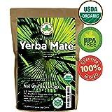 Yerba Mate Tea 1LB (16Oz) HI-CAFFEINE 100% CERTIFIED Organic SUPER-GREEN Yerba Mate   NO Dust   FRESH - NEVER Aged (Ilex Paraguariensis)   Brazilian Rain Forest Grown from U.S. Wellness Naturals