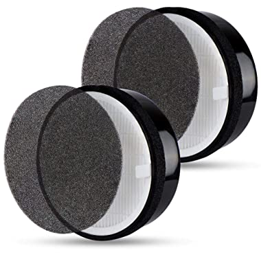 Flintar 2 Packs of High Efficiency 3-in-1 True HEPA Filter Replacement, Compatible with Air Purifier LV-H132, Removes Odors & Captures 99.7% of Allergens, Part # LV-H132-RF
