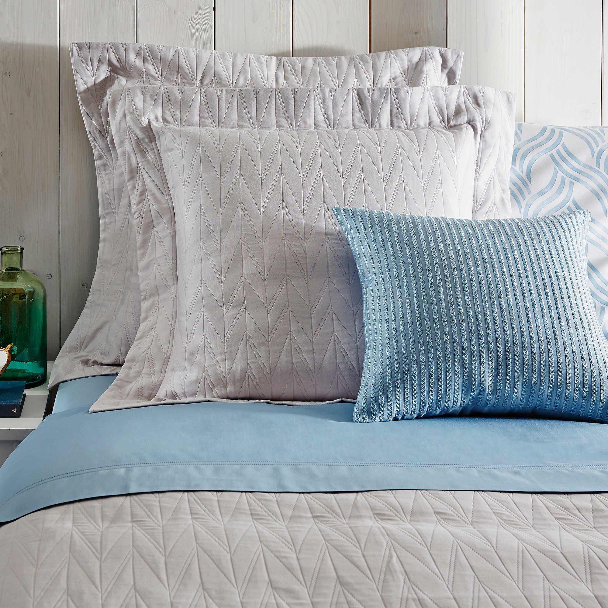 Frette At Home Porto Venere Fashion Standard Pillow Sham in Pearl Grey