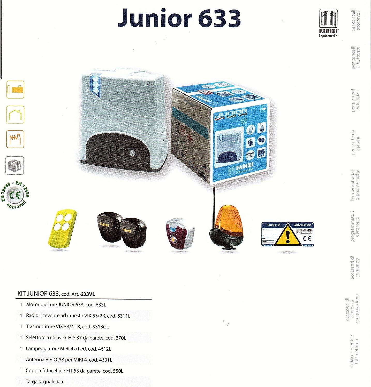 Kit Junior 633 FADINI para puerta corredera (Max 600 kg.) Con Telecom. ViX 53/4: Amazon.es: Bricolaje y herramientas
