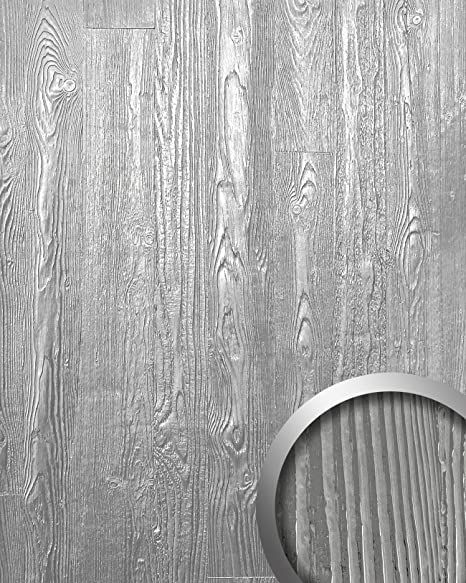 Panel decorativo autoadhesivo diseño madera con relieve 3D WallFace 14808 WOOD Color plata mate y brillante