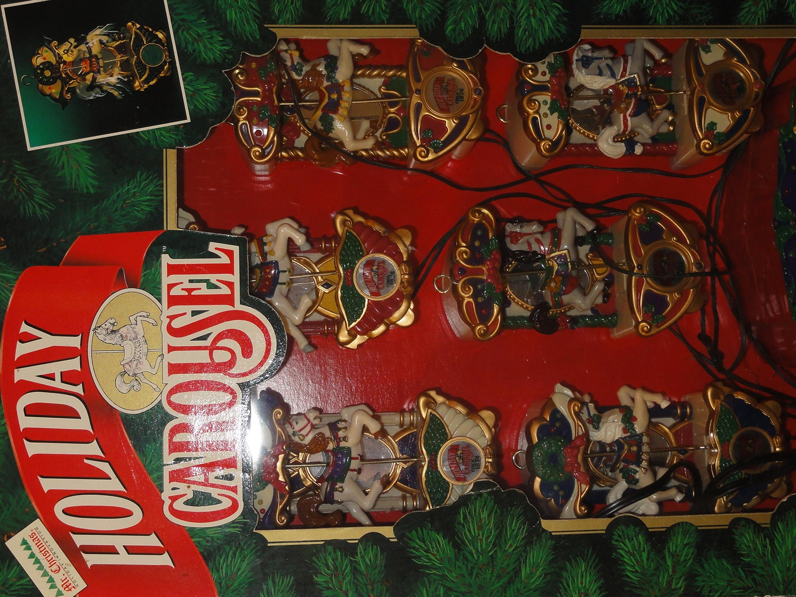 Mr. Christmas Holiday Carousel Musical / 6 Horses Figurines