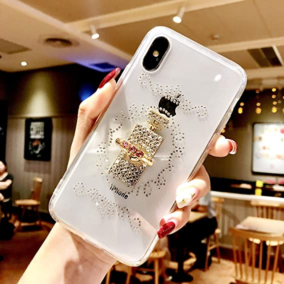 brand new 035ad 10d7f iPhone Xs Max Case, DMaos Embed Diamond with Holding Ring Soft TPU Crystal  Clear Slim Cover Kickstand Anti Slip, Premium for iPhone 10s Max/iPhone Xs  ...