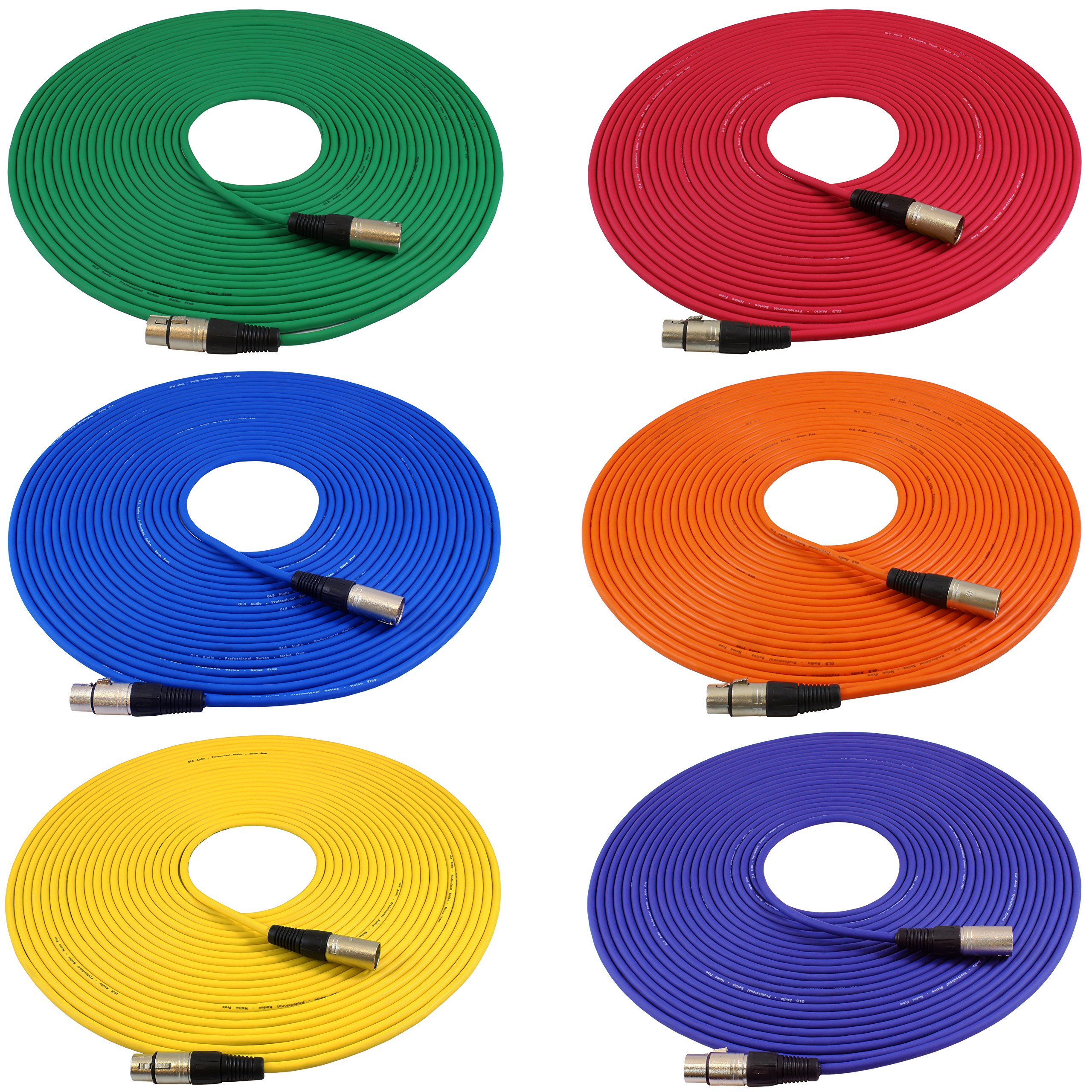 GLS Audio 50ft Mic Cable Cords - XLR Male to XLR Female Colored Cables - 50' Balanced Mike Cord - 6 PACK by GLS Audio