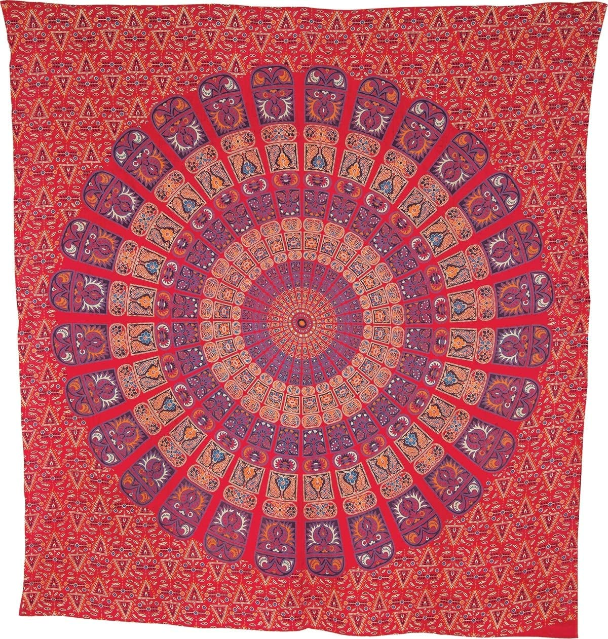 Luna Bazaar Deesa Bohemian Mandala Tapestry, Wall Hanging and Bedspread Large, 7 X 8 Feet, Red and Purple, 100 Cotton, Fair Trade Certified